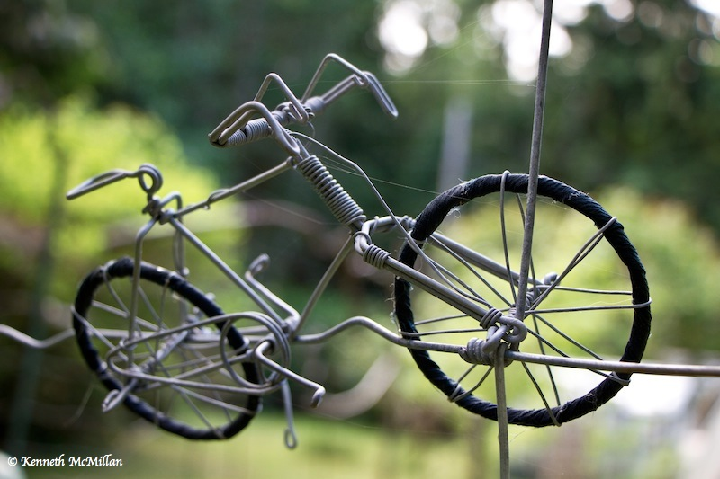 A wire bicycle a friend brought back from Africa.  He bought it from a street vendor who made them
